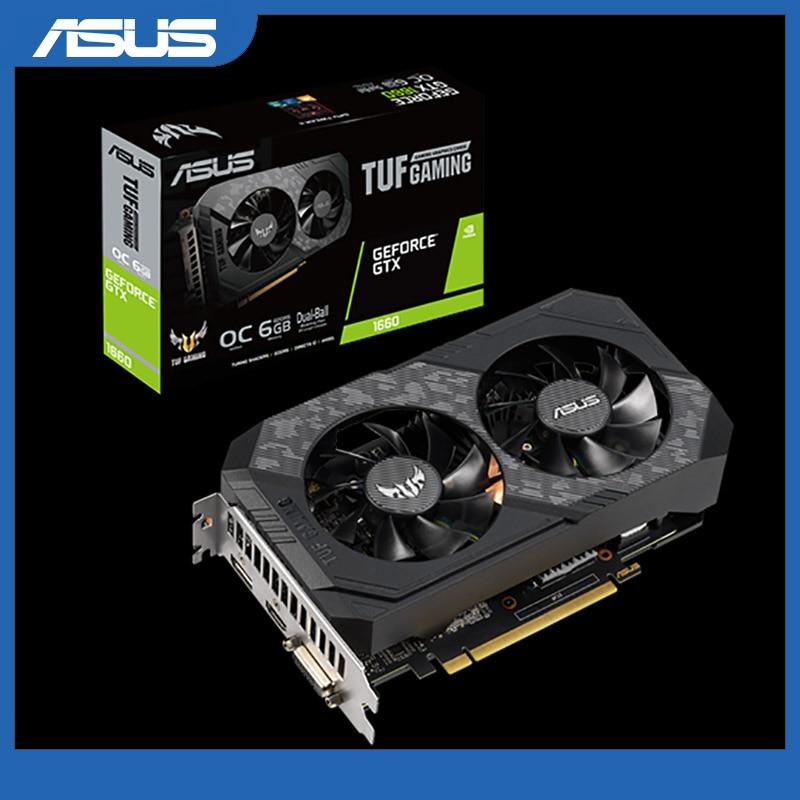 Видеокарта Asus TUF-GTX 1660-O6G-GAMING GeForce GTX 1660 6 ГБ, игровая видеокарта для настольного компьютера