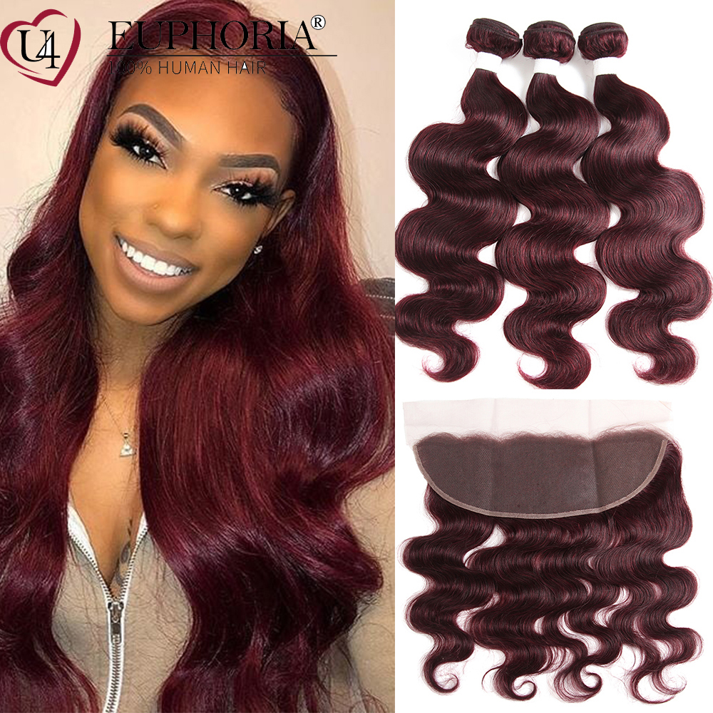99J Hair Body Wave Bundles With Frontal Brown Burg Brazilian 9A Remy 100% Human Hair 3/4 Bundles With 13x4 Lace Frontal EUPHORIA