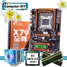 Empfehlen marke HUANANZHI deluxe X79 LGA2011 motherboard combo M.2 NVMe slot CPU Intel Xeon E5 2670 C2 mit kühler RAM 64G RECC(China)