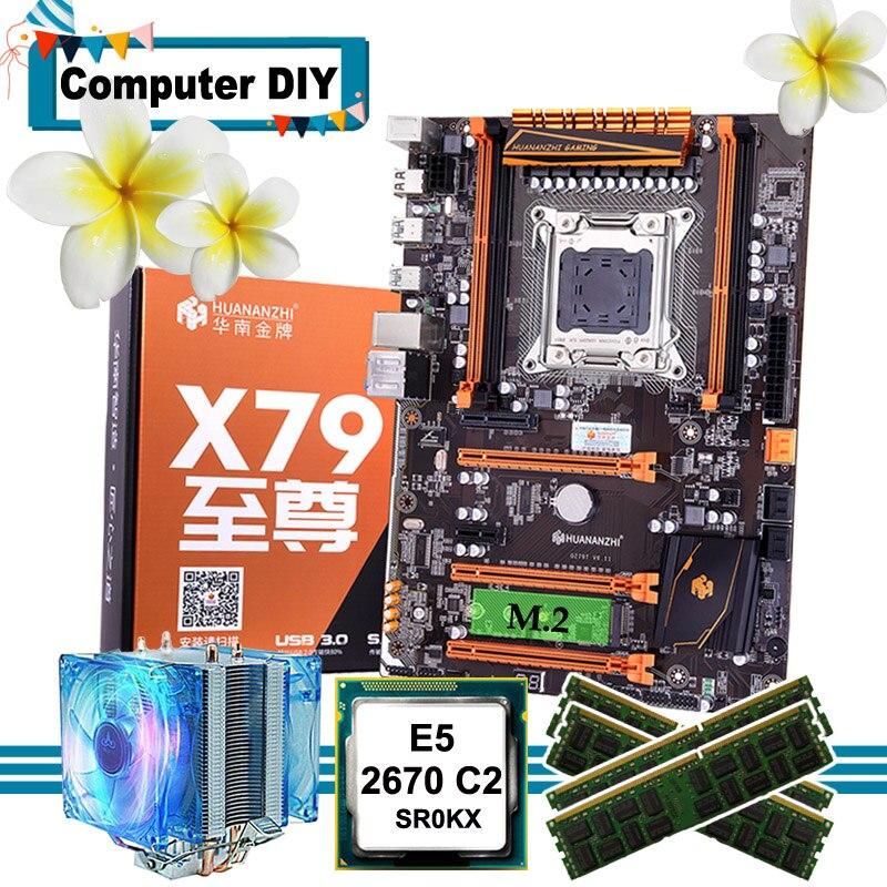 Recommander marque HUANANZHI deluxe X79 LGA2011 carte mère combo M.2 NVMe slot CPU Intel Xeon E5 2670 C2 avec refroidisseur RAM 64G RECC