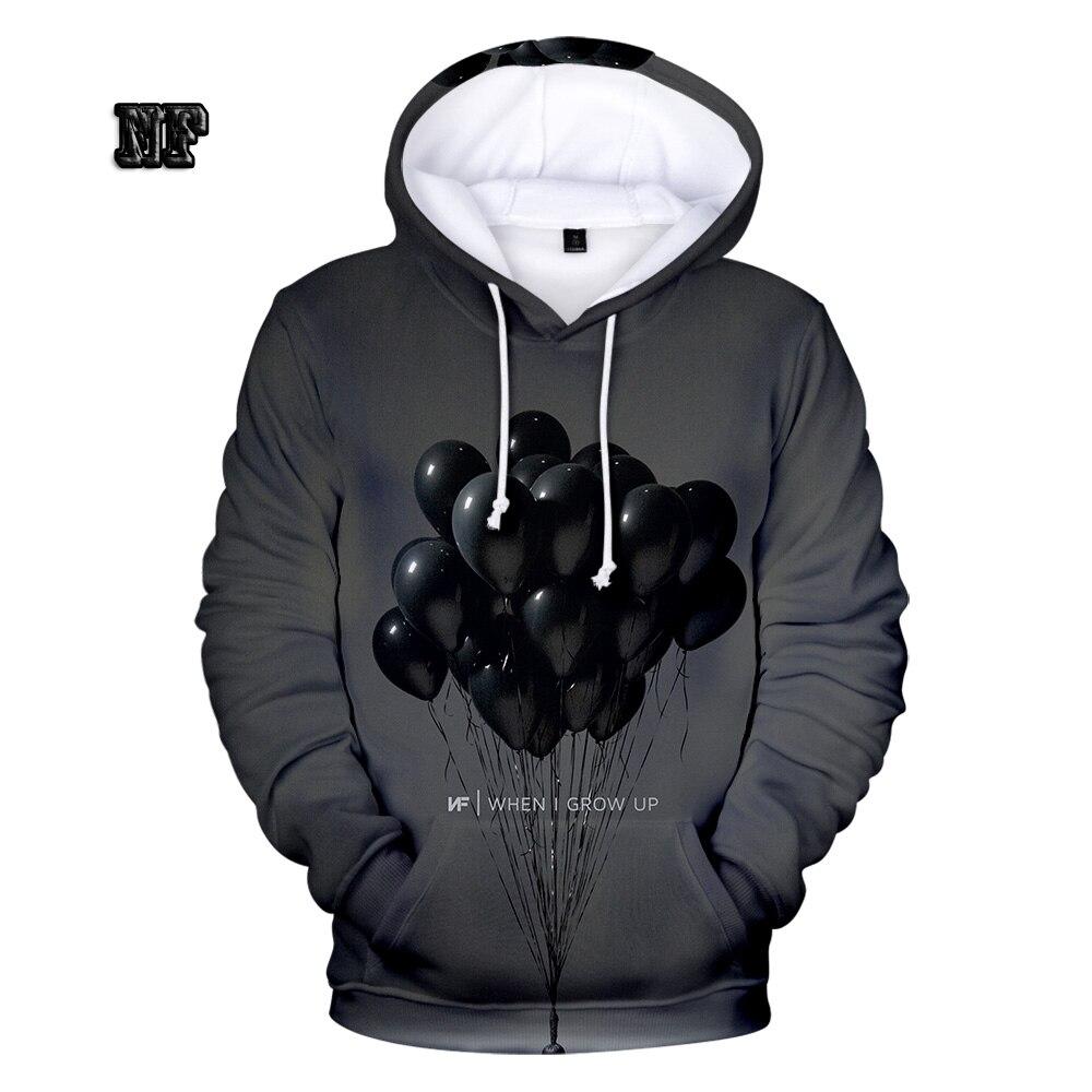 Hoodie 3D Long-Sleeved Rapper NF Sweatshirt Streetwear Hip-Hop Song Air-Balloon-Pattern