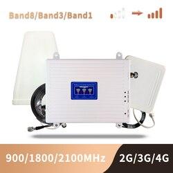 GSM 2G 3G 4G Усилитель сотового телефона трехполосный Усилитель мобильного сигнала LTE сотовый ретранслятор GSM DCS WCDMA 900 1800 2100 комплект