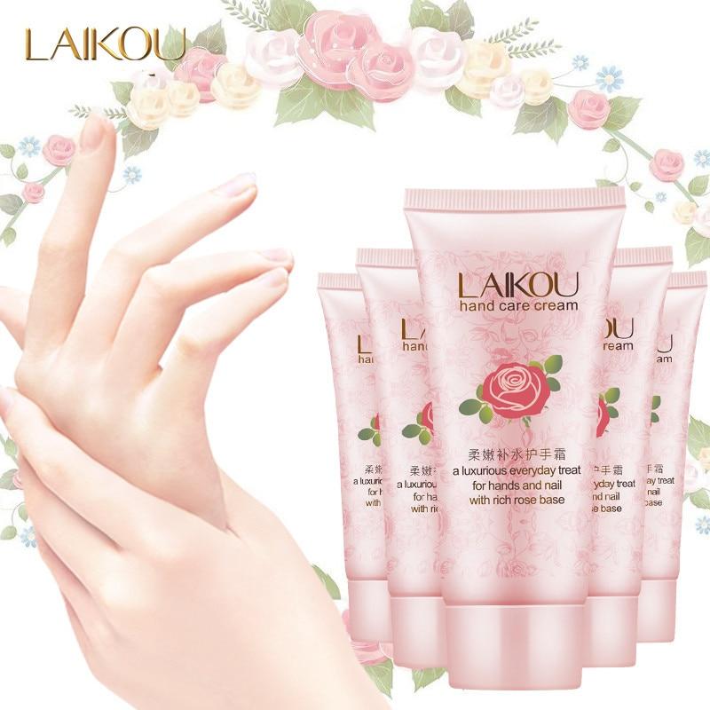 LAIKOU Rose Essential Oil Hand Cream Rose Hand Care Cream Deep Moisturizing Nourishing Brighten Tighten Anti Wrinkle Skin Care