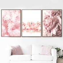 Pink Peony Canvas Painting Poster Abstract Wall Flamingo Surf Pictures For Living Room Modern Art