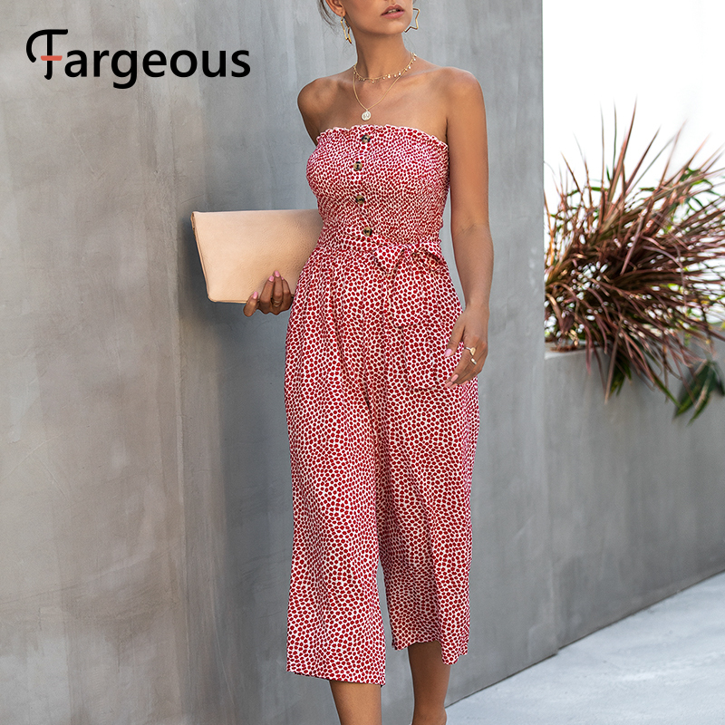 Fargeous Sexy Off Shoulder Tube Top Jumpsuit Casual Floral Print High Waist Wide Leg Long Rompers 2020 Summer Strapless Jumpsuit