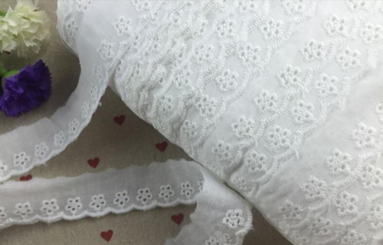 10 ярдов чистый белый хлопок кружевной ткани DIY Материал аксессуары для одежды кружевной ткани с отверстиями 2,5 см Ширина