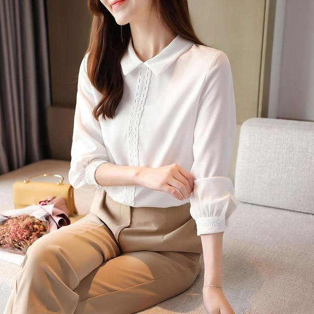 Korean Chiffon Shirts Women Long Sleeve Shirts Woman Solid Blouses Tops Office Lady White Shirt Tops Plus Size Woman Blouse Top 2