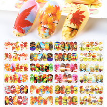 12pc Herfst Leaf Stickers Voor Nagels Gouden Fall Maple Slider Tattoo Kleurrijke Bloem Nagel Ontwerpen Decals Decoraties SAA1201-1212(China)