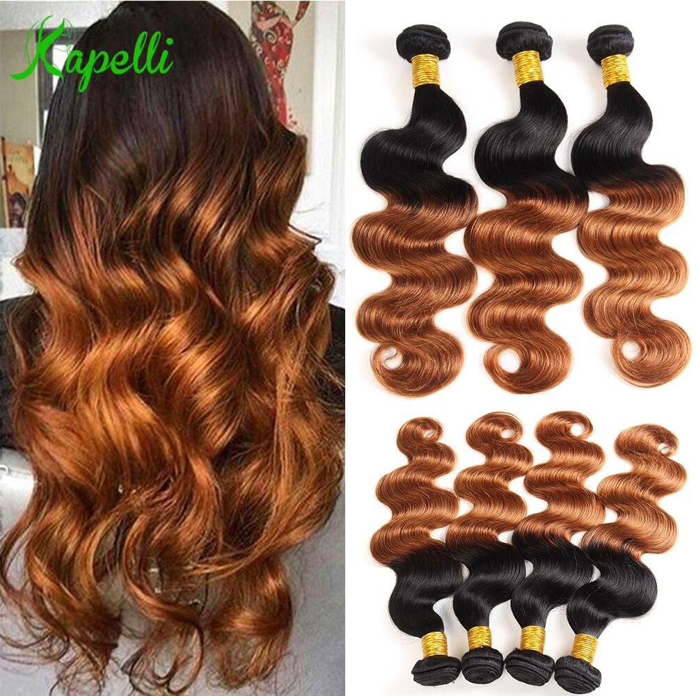 Kapelli Hair Two Tone Ombre Hair Pre-Colored Peruvian Body Wave 3 Bundles 1B/30 Ombre Human Hair Bundles Non-Remy Free Shipping