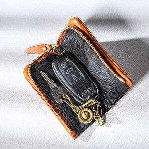 Image 3 - AETOO Copper buckle leather key bag, mens zipper car key bag, psoriasis multi functional waist padkey key bag woman