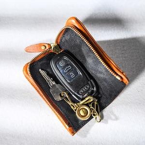 Image 3 - AETOO נחושת אבזם עור מפתח תיק, גברים של ציפר רכב מפתח תיק, פסוריאזיס רב תפקודי מותניים padkey מפתח תיק אישה