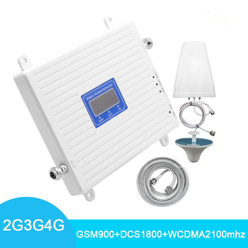 4G Signal Booster GSM 2G 3G 900 1800 2100 Repeater WCDMA TriBand Cellular Data LTE Cell Phone Amplifier With LPDA/Panel Antenna