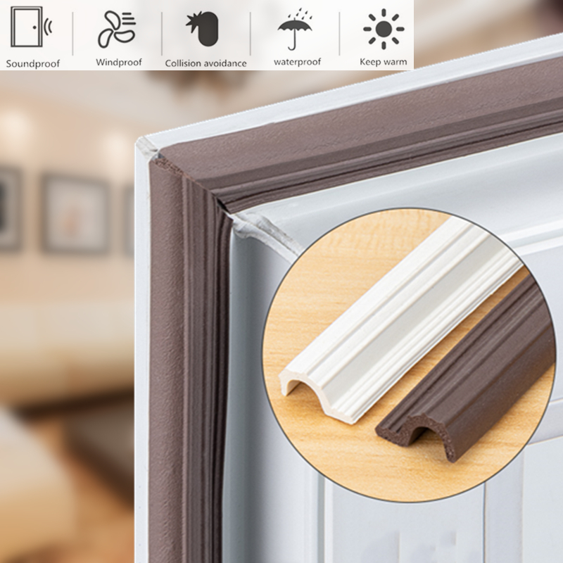 4M Weather Stripping Self-adhesive Window Door Sealing Strip espuma mousse acoustica soundproof foam tape burlete puerta casa