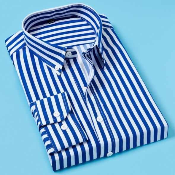 Camisa de manga larga para hombres de primavera negro blanco rojo azul a rayas para hombre camisa Casual de negocios ropa de marca camisa Formal para hombre de talla grande