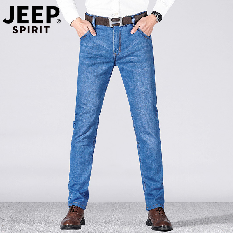Jeep/Jeep 2019 Spring And Summer Men Thin Jeans Slim Fit Elasticity Straight-Cut Medium Waist Large Size Men's Trousers Casual P