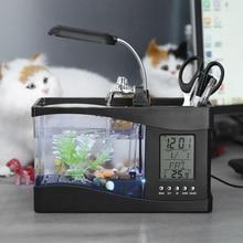 Miniacuario de escritorio con USB, luz LED, pantalla LCD, reloj, decoración de peceras con guijarros