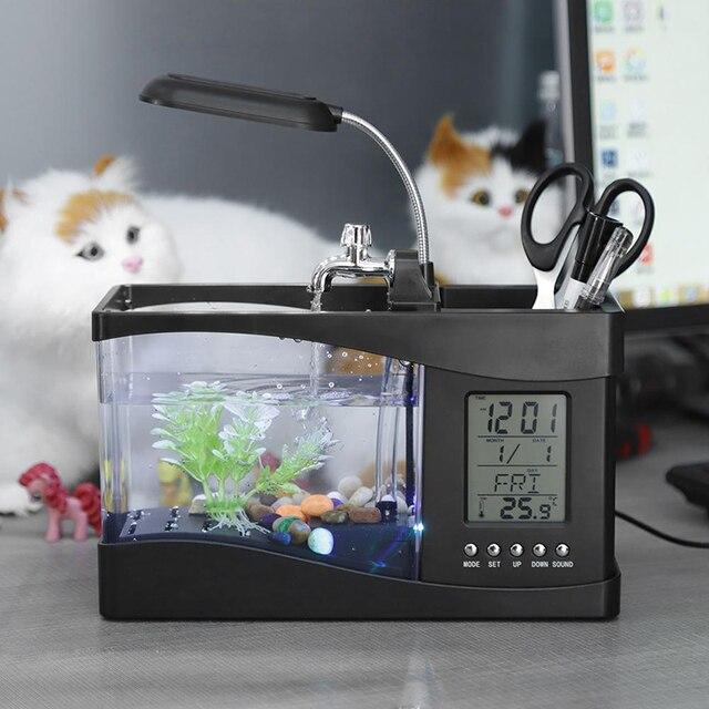 USB Desktop Mini Aquarium Fish Tank Beta Aquarium with LED Light LCD Display Screen and Clock Fish Tank Decoration with Pebbles