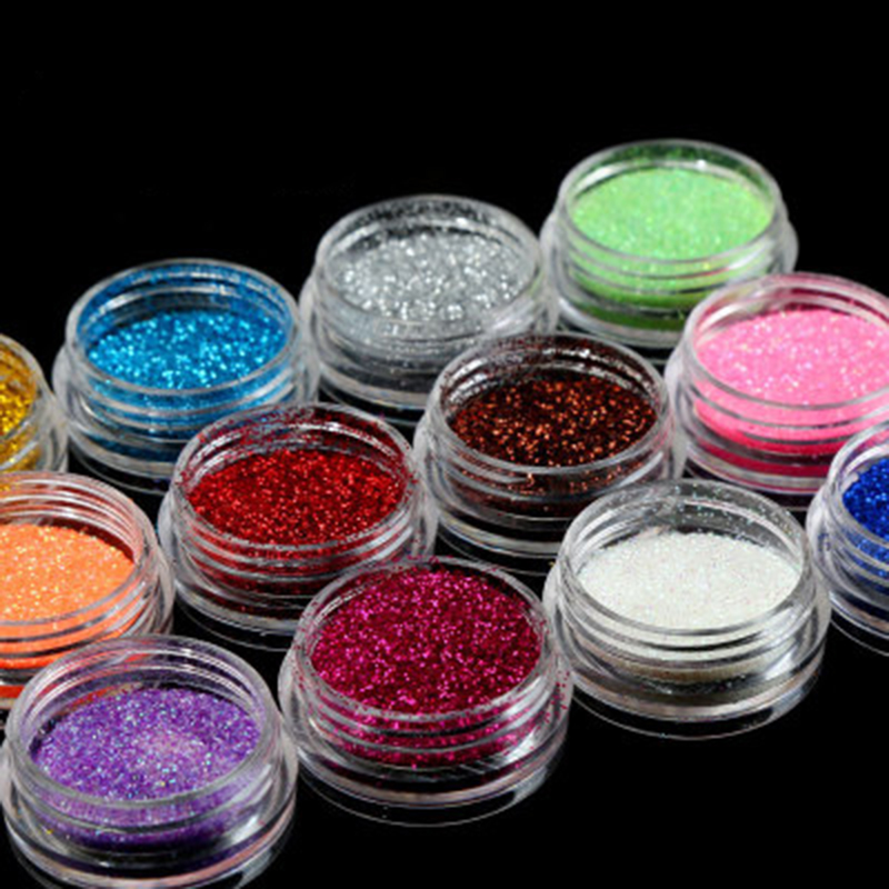 2019 New 12Colors/Set Nail Ornament Glitter Eyeshadow Eye Makeup Shimmer Powder Pigment Nail Cosmetic Glitters Mixed Colors