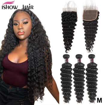 Ishow Deep Wave Bundles With Closure Human Hair Bundles With Closure Brazilian Hair Weave Bundles With Closure Non-Remy Hair - DISCOUNT ITEM  60% OFF All Category