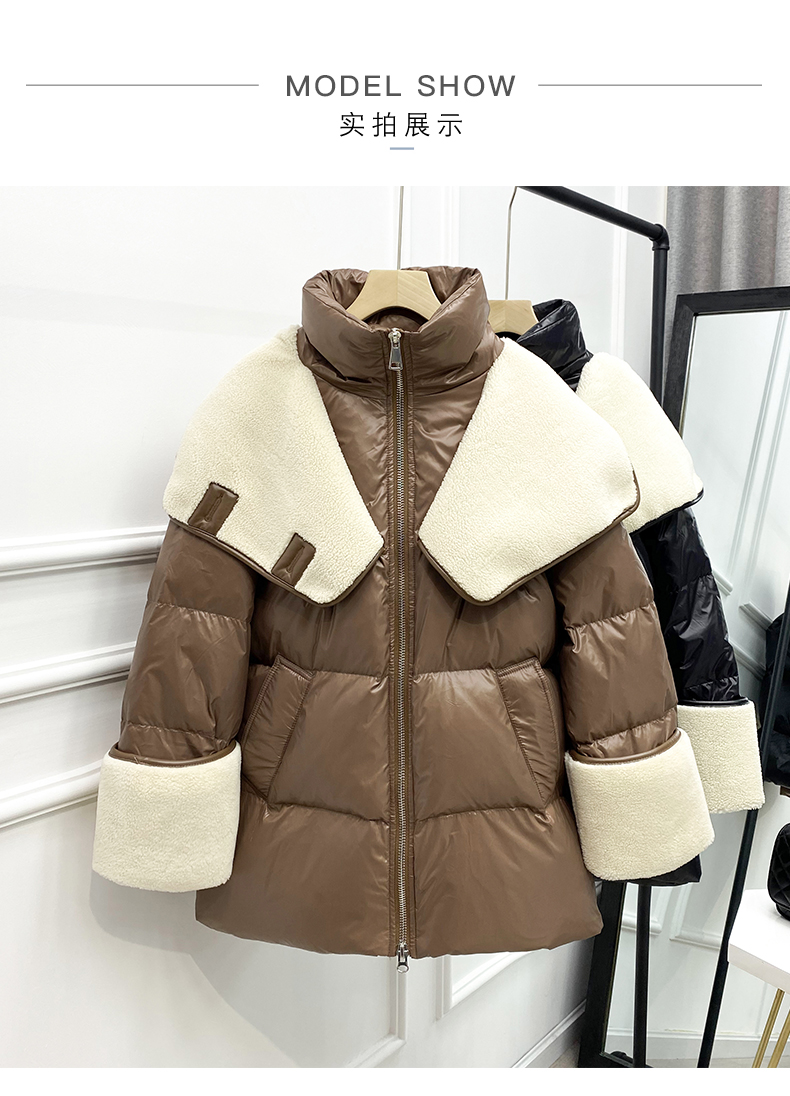 Hbf26a6b24c4f4869b285248c0eeb650bh 2021 winter new down jacket women new fashion mid-length loose and thin lamb hair stitching white duck down long-sleeved jacket