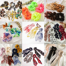 100 colors 2019 Summer Autumn Women Girls Elastic Hair Rubber Bands Accessories Gum For Women Tie Hair Ring Rope Ponytail Holder(China)