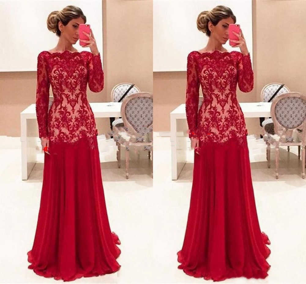 Vestido De Madrinha 2019 Red Mermaid Mother Of The Bride Dresses With Long Sleeves Lace Jewel Sheer Neck Evening Formal Dress