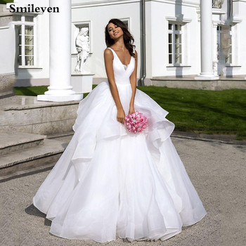 Smileven Princess Wedding Dress Organza Lace Bridal Dresses  Sexy V Neck Vestido De Noiva Custom Made