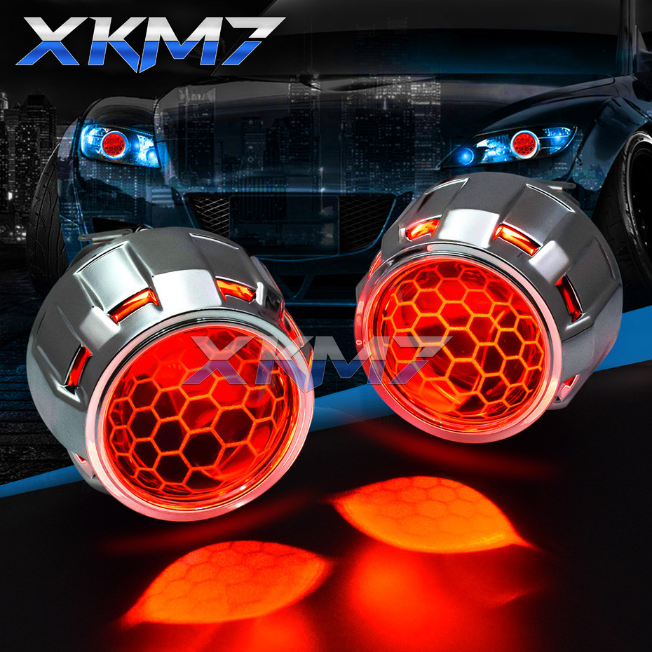 Projector Headlight Lenses LED Devil Eyes Bi-xenon Honeycomb Lens 2.5 Super WST For H4 H7 Car Lights Accessories Retrofit Tuning
