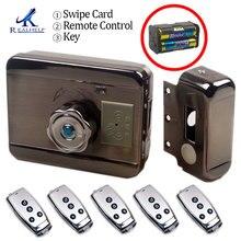 Cerradura de puerta electrónica RFID, cerradura eléctrica inalámbrica para cerradura de puerta eléctrica de Metal, cerradura de puerta de Motor sin llave 125KHZ RFID Card