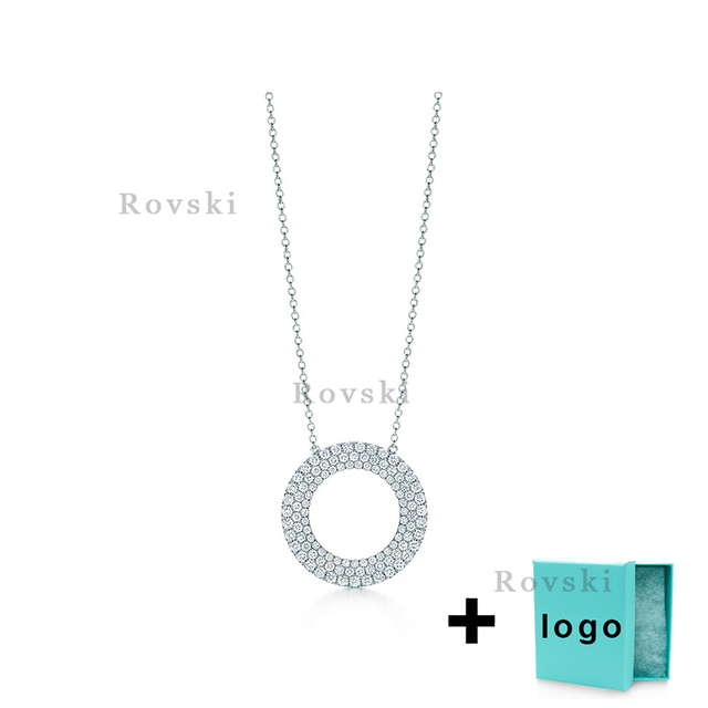 XL TFX Rllen Original Popular Brand Round Inlaid Diamond Necklace Suitable for Women's Party Jewelry Wholesale Free Delivery.
