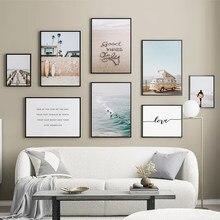 Mar praia palmeira surf menino arte da parede pintura da lona nordic posters e cópias paisagem parede fotos para sala de estar decoração
