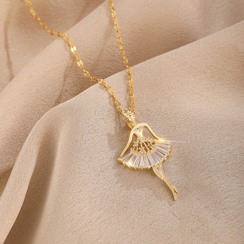 Titanium steel material ballet girl clavicle chain beautiful fashion temperament trend necklace