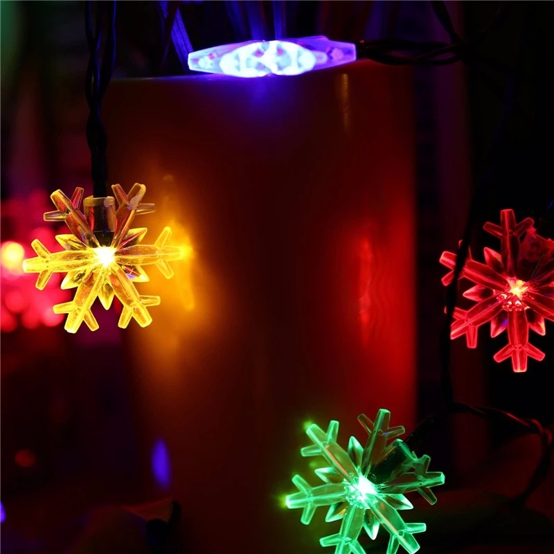 Image 4 - LED Snowflake Garland Light 2m / 5m / 10m LED Fairy Light Christmas Wedding Decoration Lighting Battery Flash Control