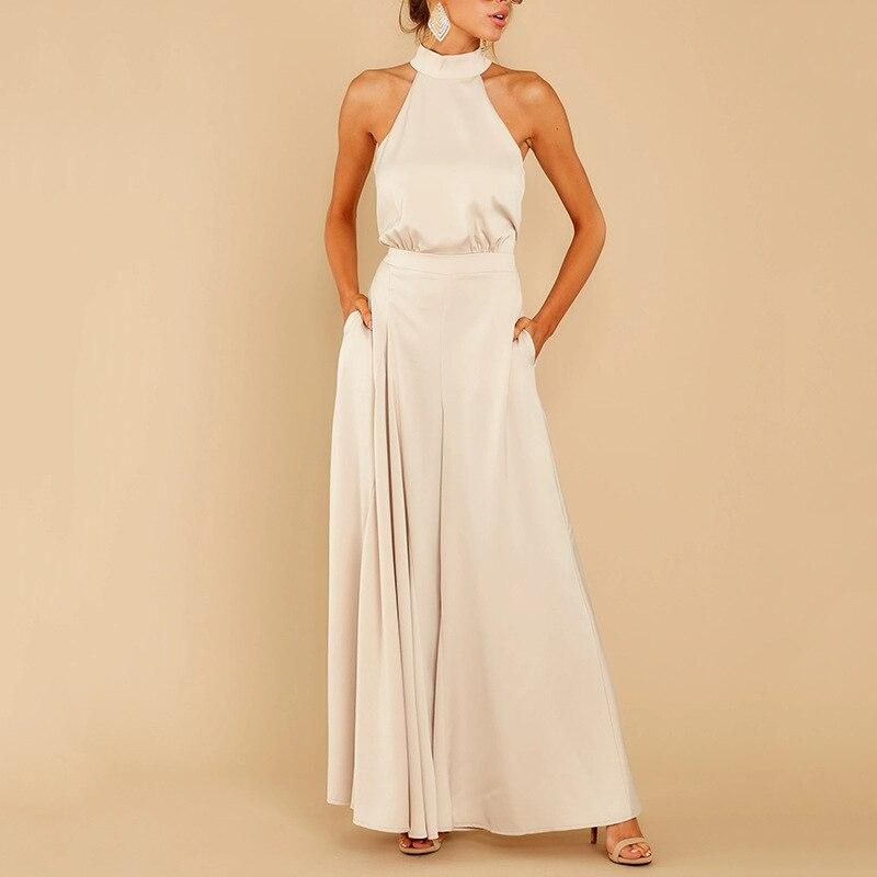 93.97руб. 60% СКИДКА|2020 spring European and American new fashion hot sale elegant sexy sleeveless high waist jumpsuit casual loose fashion pants|Брюки | |  - AliExpress