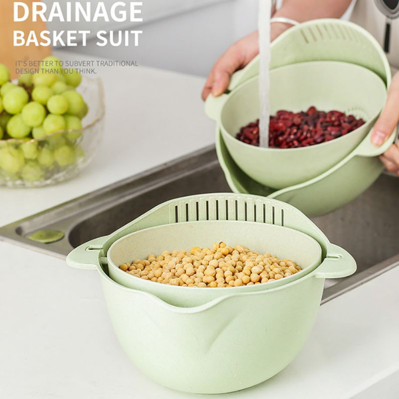 New Multicooker Bowl Wheat Double Layer Draining Basket Bowl Fruit Sink Washing Strainer Bowl Strainer Colander Kitchen Supplies