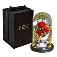 Artificial Flowers Eternal Flower Bouquet Gift Box Christmas Valentine's Day Gift Rose Valentine's Day Gift Black Bottom n n