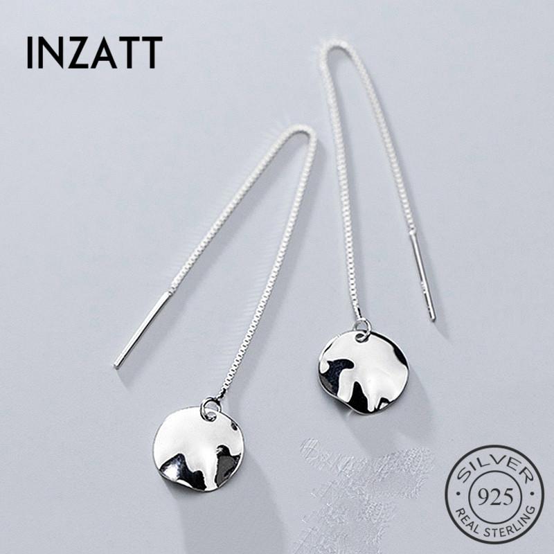 INZATT Real 925 Sterling Silver Irregular Round Chain Tassel Dangle Drop Earrings Minimalist Fine Jewelry For Fashion Women