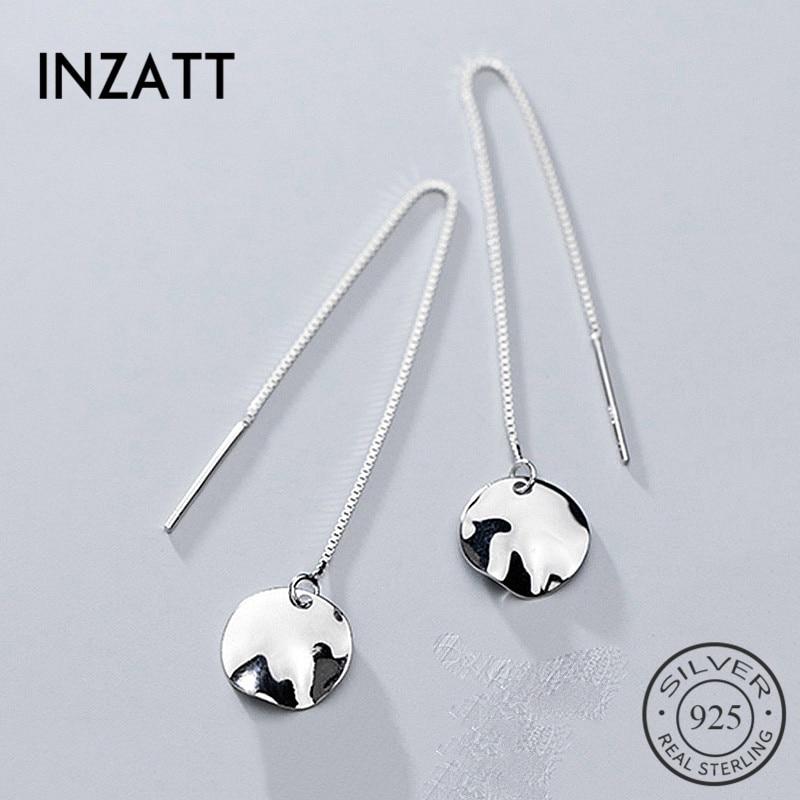 INZATT Real 925 Sterling Silver Irregular Round Chain Tassel Dangle Drop Earrings Minimalist Fine Jewelry For Fashion Women