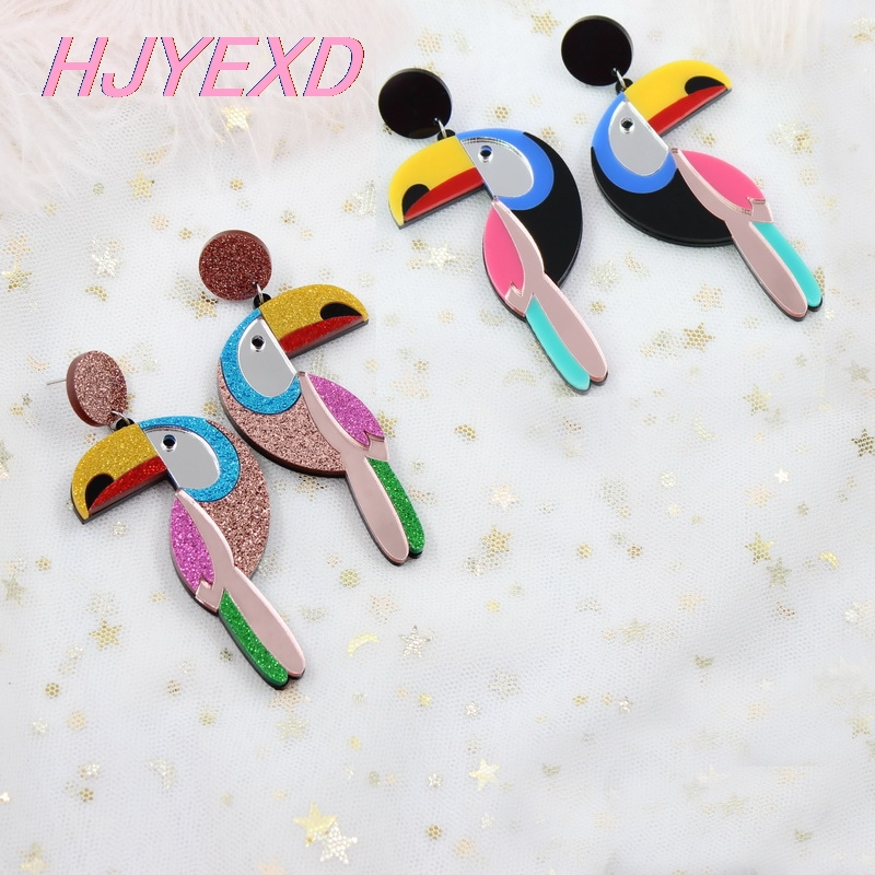 (1pair) Acrylic Toucan Drop Earring Bird Earrings Vintage Bird High Quality Acrlic Glitter Laser Cutout-HP009
