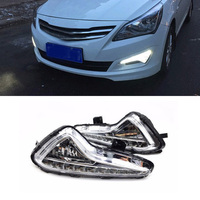 1 Pair Car Styling LED DRL Daytime Running For Hyundai Accent VERNA 2014 2015 Fog Light Signal Turning Light With Yellow Light