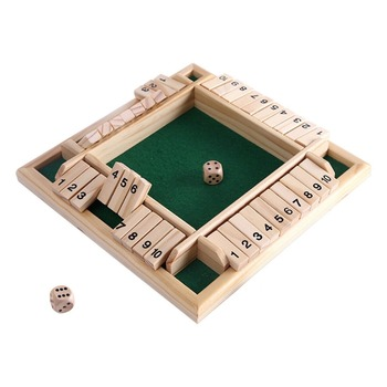 1 Set Four Sided 10 Numbers Shut The Box Board Game Dice Kit Party Club Drinking Games for Friend Families