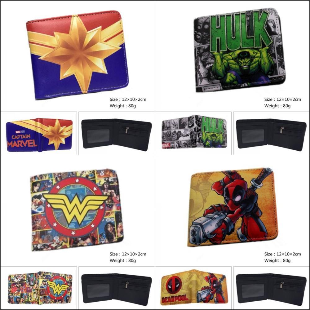 New DC Wonder Woman Bifold Coin Wallet Mens Woman Deadpool Short Purse Gift