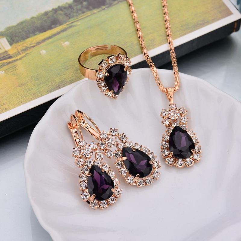 Water Drop White Blue Red Purple Black Rhinestones Jewelry Sets For Women Pendant/Necklace/Earrings/Rings