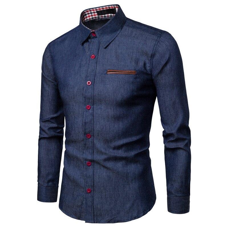 NEGIZBER 2019 Autumn Mens Jeans Shirt Solid Slim Fit Long Sleeve Jeans Shirt Men Top Quality 100% Cotton Denim Jeans Men Shirts