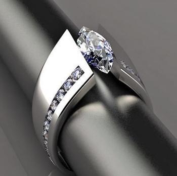 Anillos para mujer de plata con incrustaciones de piedra de circonita con forma de ojo de caballo de moda única anillo de compromiso de boda pulido de alta calidad para mujer