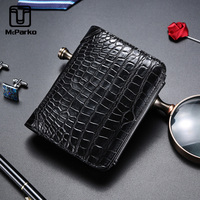 McParko Small Wallet Men Crocodile Wallets Genuine Leather Wallet rfid blocking Trifold Purse Alligator card holde Money Bag new