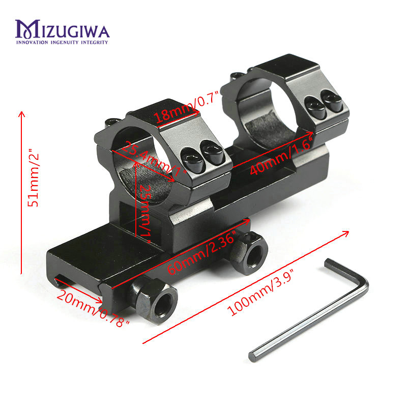 MIZUGIWA Tactical Hunting Integral Flat Top Dual Ring 25.4mm 1
