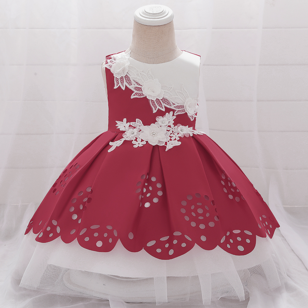 2020 Spring Dress Girls Flower Red Evening Kid Dresses for Girl Clothes Party Dress for Girl Tutu Lace Princess Dress L1918XZ
