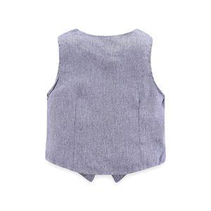 Image 4 - 子供少年服紳士グレーベスト + 長袖白シャツ + パンツ子供 4 ピーススーツスーツ子供のための衣装