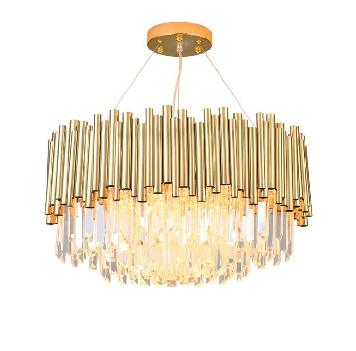 Postmodern Light Luxury Chandelier Simple Creative Bedroom Living Room Crystal Lamp Stainless Steel Personality